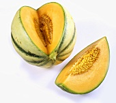 Cantaloupe melon, a piece cut out