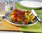Chicken leg with vegetable rice