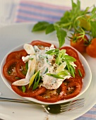 Ricotta with spring onions on tomatoes