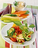 Ratatouille with cucumber & mozzarella; veg with almond quark