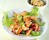 Pan-cooked shrimp and celery dish