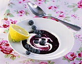 Cold soup with blueberries
