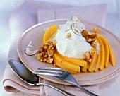 Mango with coconut cream