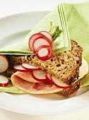 Sausage sandwich with radishes