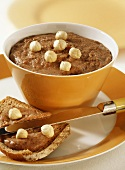 Sweet sandwich spread made from semolina, hazelnuts and cocoa