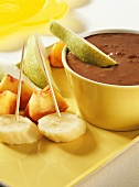 Fruit with chocolate dip for children