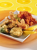 Fritto misto (deep-fried vegetables) with tomato risotto
