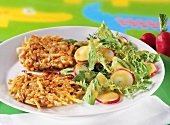 Potato and lentil rosti with salad