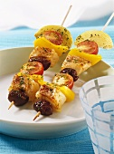 Barbecued fish kebabs