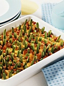 Polenta bake with green beans and bacon