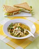 Minestrone e tramezzini (Vegetable soup & tuna sandwich)