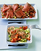 Sausage salad & roast beef with vegetable vinaigrette