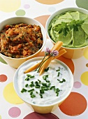 Chive quark, guacamole and tomato and ajvar dip