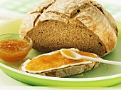 Farmhouse wheat bread with apricot jam