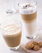Almond coffee and latte macchiato