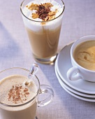 Three coffee specialities: Coffee nog, Melange, Chocolate latte