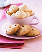 Chocolate chip and orange cookies and amarettini