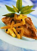 Chicken escalope with mango chutney