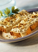 Celeriac and soft cheese spread on white bread