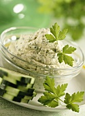 Oat and herb paste with cucumber slices
