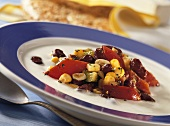 Chili with kidney beans, sweetcorn and peppers