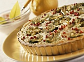 Broccoli tart with red peppercorns