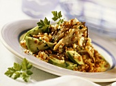 Oyster mushrooms with cereals and avocado