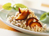 Millet pudding with ginger and plums