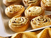 Coiled spelt quark buns with apple and nut filling
