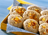 Almond macaroons with candied orange peel