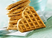 Heart-shaped wholemeal waffles