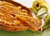 Quince pie, a slice cut