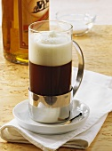 Irish coffee with whiskey and cream