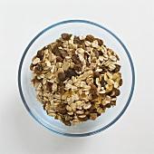 Muesli (rolled oats, raisins etc.) in glass bowl