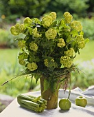 Bouquet of hydrangea with grasses