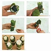 Decorating roses in glasses wrapped in leaves