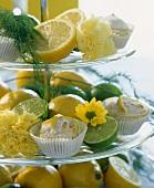 Tiered stand with lemon buns, lemons and limes
