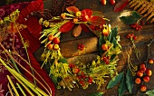 Autumn wreath of dill and fennel stalks, bay leaves etc.