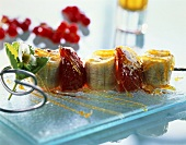 Caramelised skewered fruit
