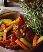 Beef ragout with vegetables and herbs
