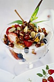 Yoghurt with fresh fruit, nuts and honey