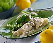 Cod fillet with cream and mushroom sauce