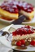 A piece of raspberry quark cake