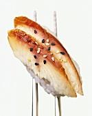 Anago-nigiri (sushi with smoked sea eel, Japan)