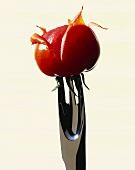Skinning tomatoes (tomato on a potato peeling fork)