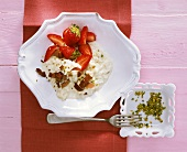 Sweet risotto with strawberries, pistachios & chocolate curls