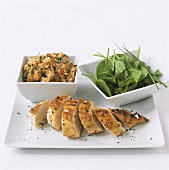 Grilled chicken breast with tomato and bulgur salad