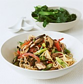 Fried strips of beef with mushrooms and noodles