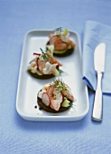 Pumpernickel rounds with shrimp salad