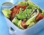 Romaine lettuce with tomatoes and oil and vinegar dressing